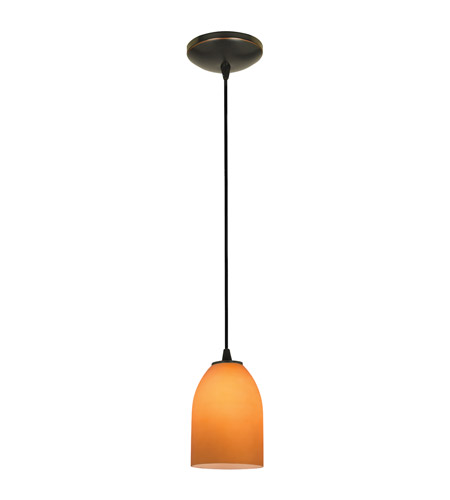 Access Lighting Sydney 1 Light Cone Glass Pendant in Oil Rubbed Bronze with Amber Glass 28018-1C-ORB/AMB photo