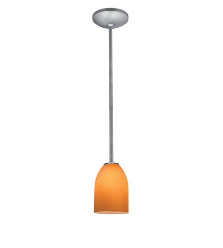 Access Lighting Janine 1 Light Cone Glass Pendant in Brushed Steel with Amber Glass 28018-1R-BS/AMB photo