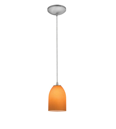 Access 28018-2C-BS/AMB Tali 1 Light 5 inch Brushed Steel Pendant Ceiling Light in Amber, Fluorescent, Cord photo