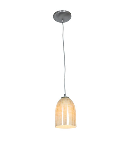Access 28018-2C-BS/WAMB Tali 1 Light 5 inch Brushed Steel Pendant Ceiling Light in Wicker Amber, Fluorescent, Cord photo