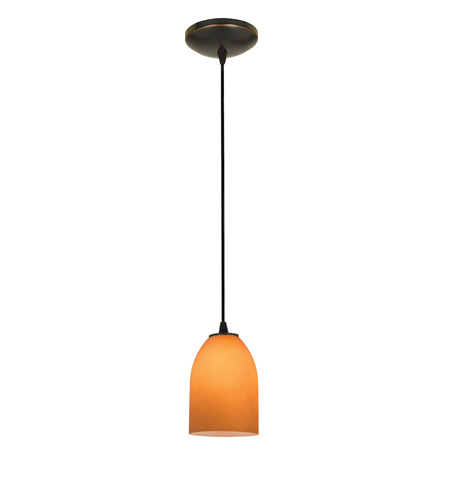 Access Lighting Tali 1 Light Cone Glass Pendant in Oil Rubbed Bronze with Amber Glass 28018-2C-ORB/AMB photo