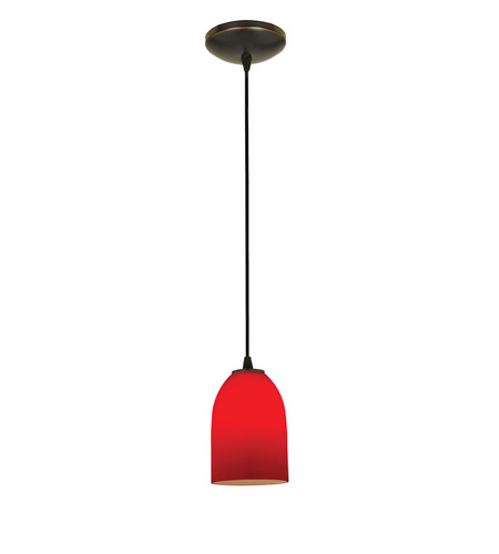 Access Lighting Tali 1 Light Cone Glass Pendant in Oil Rubbed Bronze with Red Glass 28018-2C-ORB/RED photo