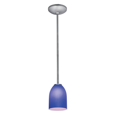 Access Lighting Julia 1 Light Cone Glass Pendant in Brushed Steel with Cobalt Glass 28018-2R-BS/COB photo