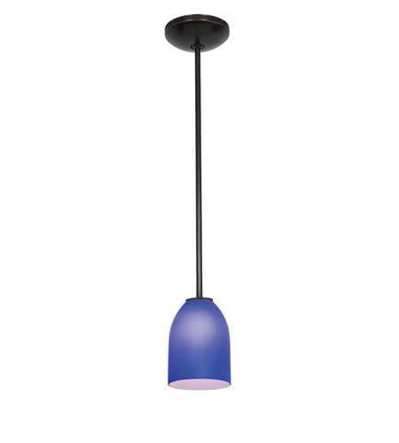Access Lighting Julia 1 Light Cone Glass Pendant in Oil Rubbed Bronze with Cobalt Glass 28018-2R-ORB/COB photo
