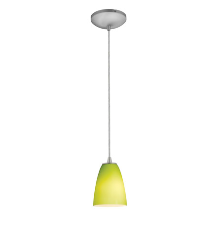 Access Lighting Tali 1 Light Cone Glass Pendant in Brushed Steel with Light Green Glass 28022-2C-BS/LGR photo