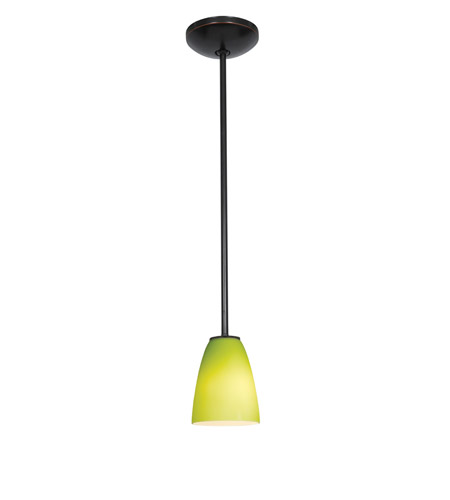 Access Lighting Julia 1 Light Cone Glass Pendant in Oil Rubbed Bronze with Light Green Glass 28022-2R-ORB/LGR photo