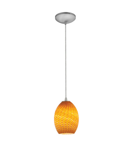 Access 28023-4C-BS/ASKY Brandy FireBird LED 6 inch Brushed Steel Pendant Ceiling Light in Amber Sky photo