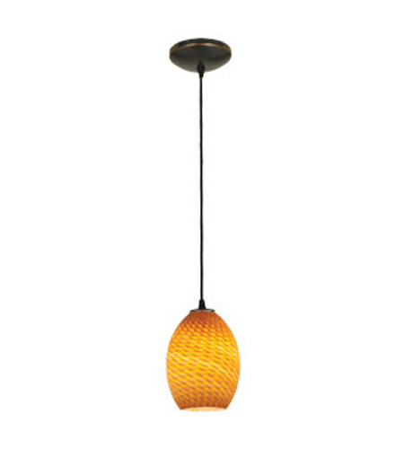 Access Lighting Sydney 1 Light FireBird Glass Pendant in Oil Rubbed Bronze with Amber Fire Bird Glass 28023-1C-ORB/AMBFB photo