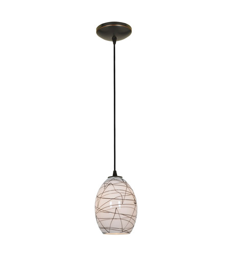Access Lighting Sydney 1 Light FireBird Glass Pendant in Oil Rubbed Bronze with Black on White Glass 28023-1C-ORB/BLWH photo