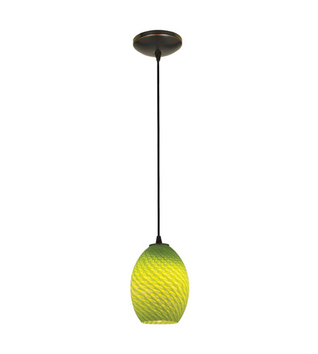 Access 28023-1C-ORB/LGRFB Sydney 1 Light 6 inch Oil Rubbed Bronze Pendant Ceiling Light in Light Green Firebird, Incandescent, Cord photo
