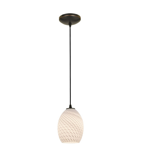 Access 28023-1C-ORB/WHTFB Sydney 1 Light 6 inch Oil Rubbed Bronze Pendant Ceiling Light in White Firebird, Incandescent, Cord photo