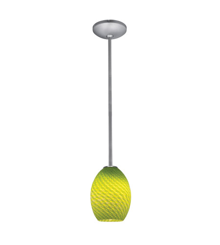 Access 28023-1R-BS/LGRFB Janine 1 Light 6 inch Brushed Steel Pendant Ceiling Light in Light Green Firebird, Incandescent, Rod photo