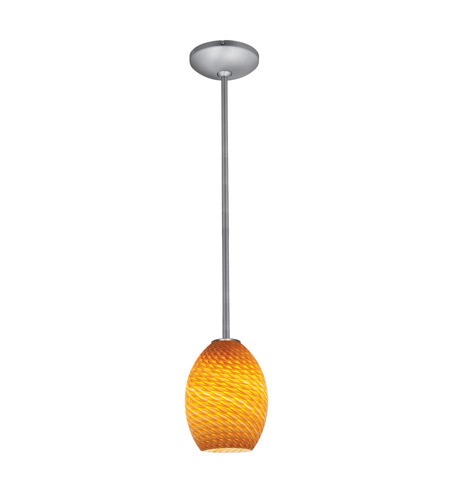 Access 28023-3R-BS/AMBFB Brandy FireBird LED 6 inch Brushed Steel Pendant Ceiling Light in Amber Firebird photo