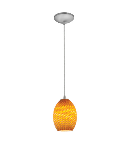 Access Lighting Tali 1 Light FireBird Pendant in Brushed Steel with Amber Fire Bird Glass 28023-2C-BS/AMBFB photo