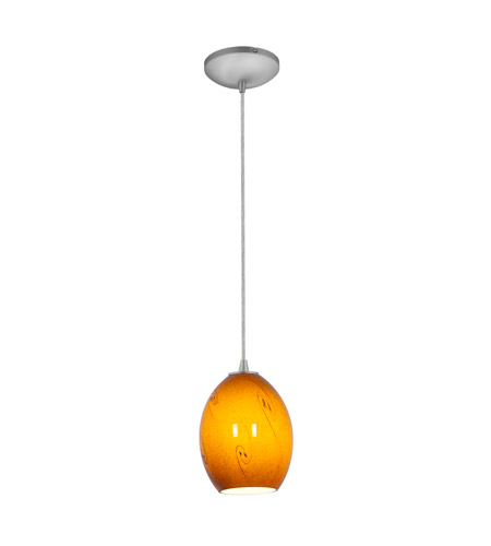 Access Lighting Tali 1 Light FireBird Pendant in Brushed Steel with Amber Sky Glass 28023-2C-BS/ASKY photo