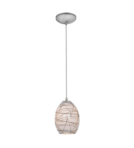 Access Lighting Tali 1 Light FireBird Pendant in Brushed Steel with Black on White Glass 28023-2C-BS/BLWH photo