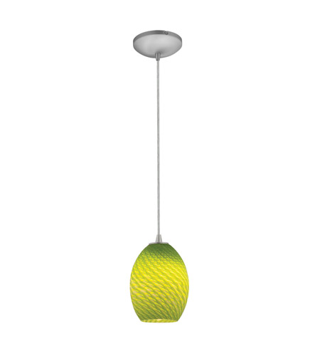 Access 28023-2C-BS/LGRFB Tali 1 Light 6 inch Brushed Steel Pendant Ceiling Light in Light Green Firebird, Fluorescent, Cord photo