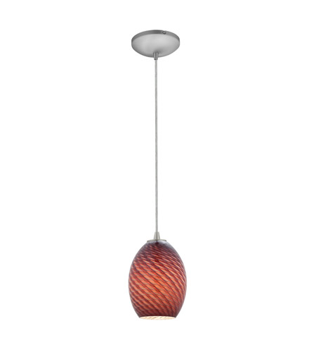 Access 28023-2C-BS/PLMFB Tali 1 Light 6 inch Brushed Steel Pendant Ceiling Light in Plum Firebird, Fluorescent, Cord photo