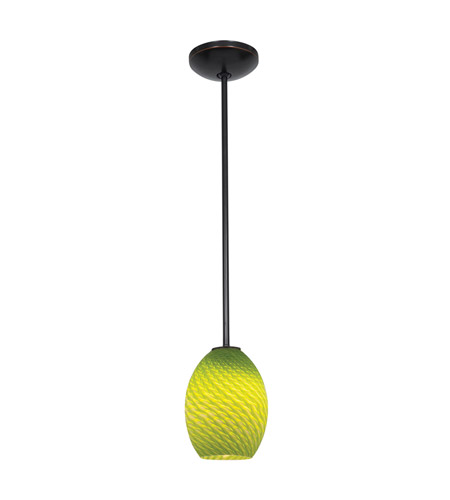 Access 28023-2R-ORB/LGRFB Julia 1 Light 6 inch Oil Rubbed Bronze Pendant Ceiling Light in Light Green Firebird, Fluorescent, Rod photo