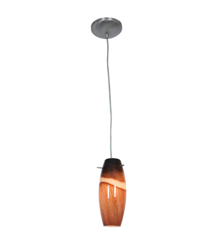 Access 28024-1C-BS/AMS Sydney 1 Light 5 inch Brushed Steel Pendant Ceiling Light in Amber Slate, Incandescent, Cord photo