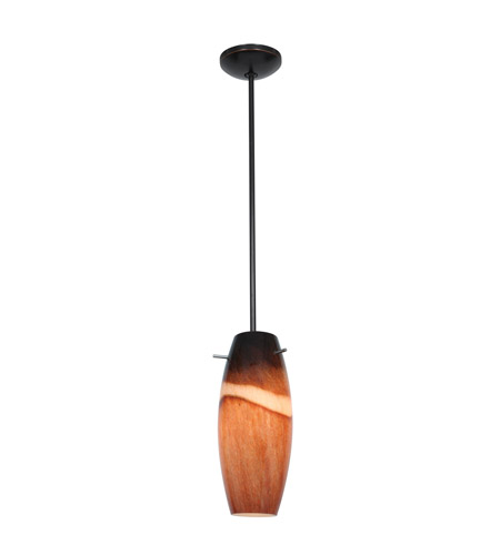 Access 28024-2R-ORB/AMS Julia Wicker 1 Light 5 inch Oil Rubbed Bronze Pendant Ceiling Light in Amber Slate photo