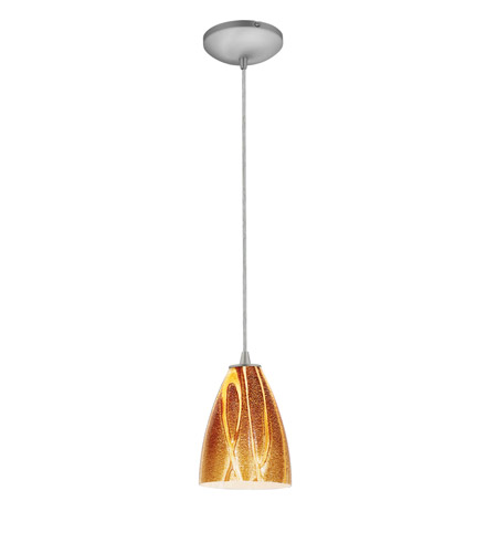 Access Lighting Sydney 1 Light Italian Art Glass Pendant in Brushed Steel with Amazon Glass 28025-1C-BS/AMZ photo