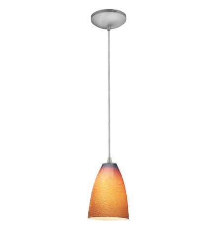 Access Lighting Sydney 1 Light Italian Art Glass Pendant in Brushed Steel with Silver Amber Glass 28025-1C-BS/SLA photo