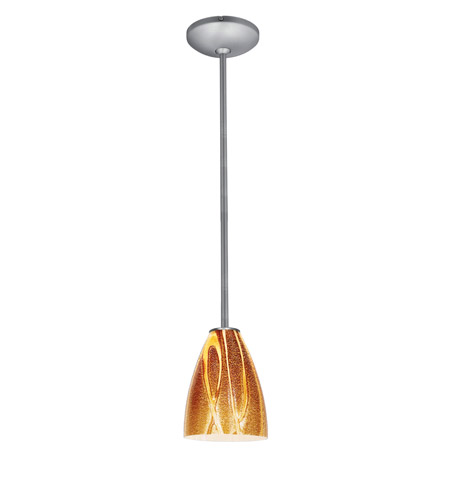 Access Lighting Janine 1 Light Italian Art Glass Pendant in Brushed Steel with Amazon Glass 28025-1R-BS/AMZ photo