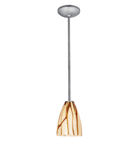 Access Lighting Janine 1 Light Italian Art Glass Pendant in Brushed Steel with Lava Glass 28025-1R-BS/LAV photo