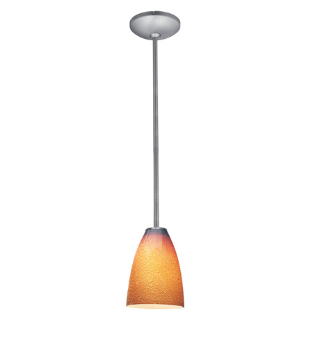 Access Lighting Janine 1 Light Italian Art Glass Pendant in Brushed Steel with Silver Amber Glass 28025-1R-BS/SLA photo