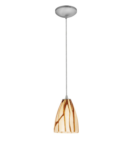 Access Lighting Tali 1 Light Italian Art Glass Pendant in Brushed Steel with Lava Glass 28025-2C-BS/LAV photo