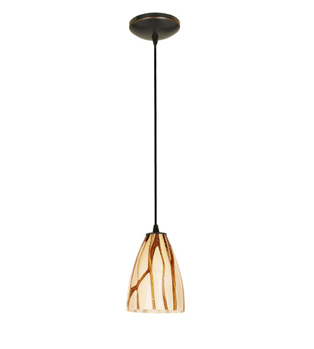 Access Lighting Tali 1 Light Italian Art Glass Pendant in Oil Rubbed Bronze with Lava Glass 28025-2C-ORB/LAV photo
