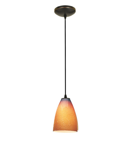 Access Lighting Tali 1 Light Italian Art Glass Pendant in Oil Rubbed Bronze with Silver Amber Glass 28025-2C-ORB/SLA photo