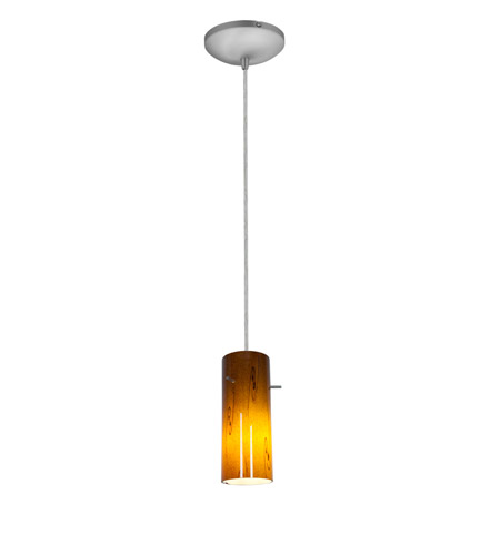 Access Lighting Sydney 1 Light Cylinder Glass Pendant in Brushed Steel with Amber Sky Glass 28030-1C-BS/ASKY photo