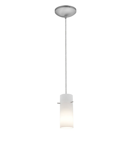 Access Lighting Sydney 1 Light Cylinder Glass Pendant in Brushed Steel with Opal Glass 28030-1C-BS/OPL photo