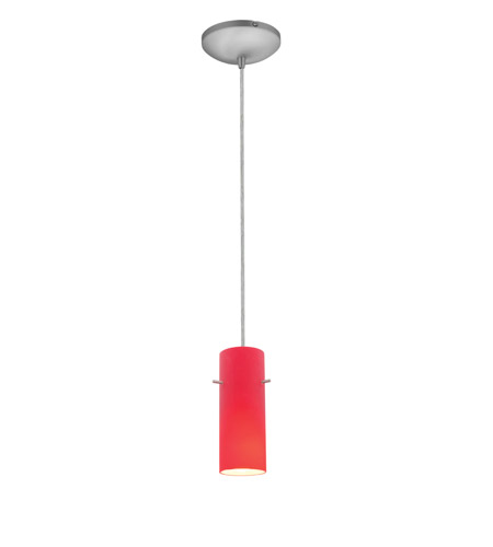 Access 28030-1C-BS/RED~ Sydney 1 Light 4 inch Brushed Steel Pendant Ceiling Light in Red, Incandescent, Cord photo