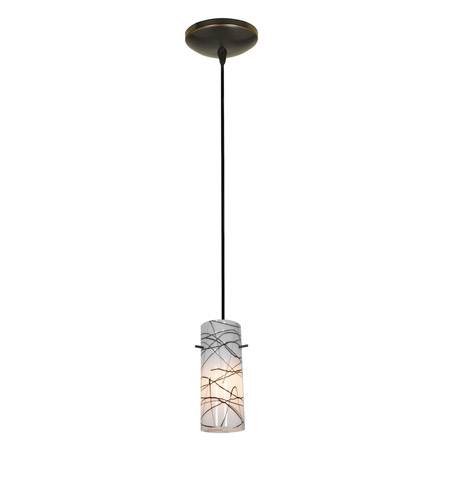 Access Lighting Sydney 1 Light Cylinder Glass Pendant in Oil Rubbed Bronze with Black on White Glass 28030-1C-ORB/BLWH photo