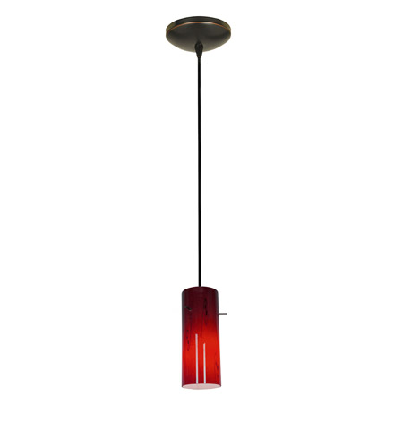 Access Lighting Sydney 1 Light Cylinder Glass Pendant in Oil Rubbed Bronze with Ruby Sky Glass 28030-1C-ORB/RUSKY photo