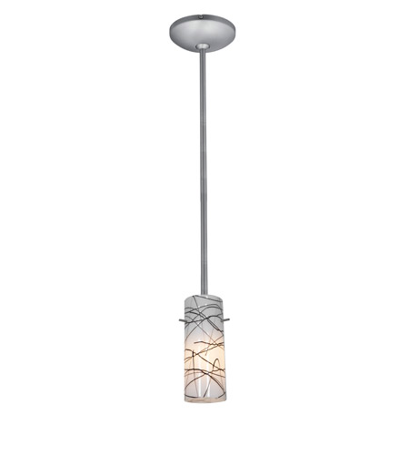 Access Lighting Janine 1 Light Cylinder Glass Pendant in Brushed Steel with Black on White Glass 28030-1R-BS/BLWH photo