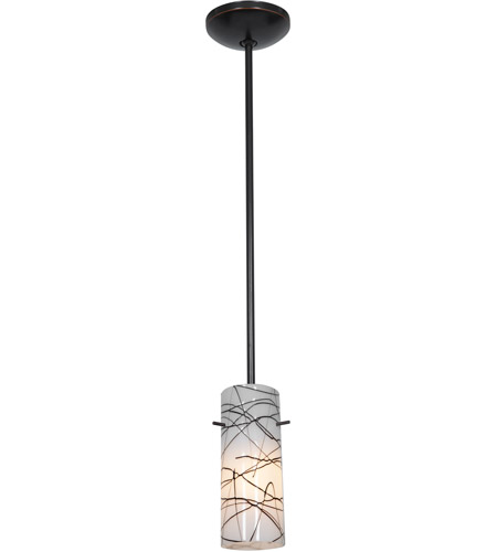 Access Lighting Janine 1 Light Cylinder Glass Pendant in Oil Rubbed Bronze with Black on White Glass 28030-1R-ORB/BLWH photo