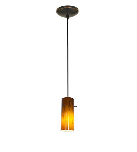 Access Lighting Tali 1 Light Cylinder Glass Pendant in Oil Rubbed Bronze with Amber Sky Glass 28030-2C-ORB/ASKY photo