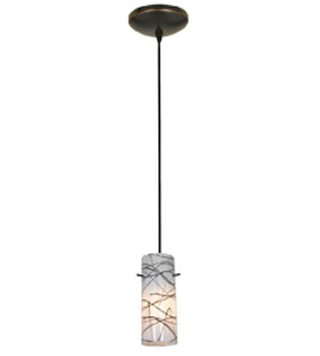 Access Lighting Tali 1 Light Cylinder Glass Pendant in Oil Rubbed Bronze with Black on White Glass 28030-2C-ORB/BLWH photo