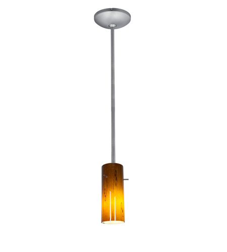 Access Lighting Julia 1 Light Cylinder Glass Pendant in Brushed Steel with Amber Sky Glass 28030-2R-BS/ASKY photo