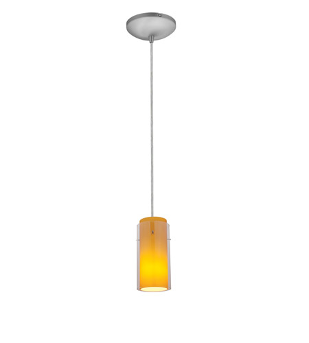 Access 28033-1C-BS/CLAM Sydney 1 Light 5 inch Brushed Steel Pendant Ceiling Light in Clear Outer Amber Inner, Incandescent, Cord photo