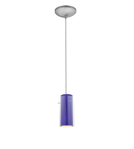 Access Lighting Sydney 1 Light Glass in Glass Cylinder Pendant in Brushed Steel with Clear Outer Cobalt Inner Glass 28033-1C-BS/CLCB photo