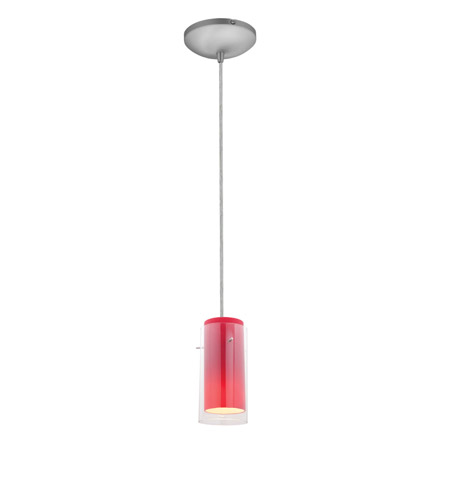 Access 28033-1C-BS/CLRD Sydney 1 Light 5 inch Brushed Steel Pendant Ceiling Light in Clear and Red, Incandescent, Cord photo