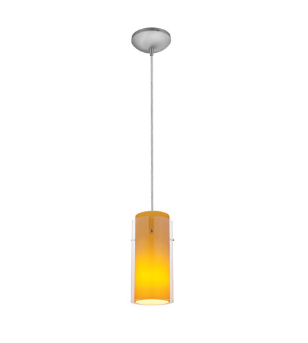 Access 28033-3C-BS/CLAM Signature LED 5 inch Brushed Steel Pendant Ceiling Light in Clear Outer Amber Inner photo