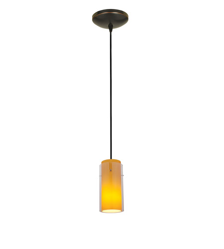 Access Lighting Sydney 1 Light Glass in Glass Cylinder Pendant in Oil Rubbed Bronze with Clear Outer Amber Inner Glass 28033-1C-ORB/CLAM photo