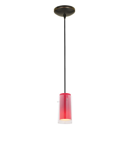 Access 28033-1C-ORB/CLRD Sydney 1 Light 5 inch Oil Rubbed Bronze Pendant Ceiling Light in Clear and Red, Incandescent, Cord photo