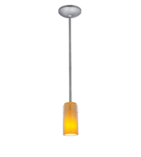 Access 28033-1R-BS/CLAM Janine 1 Light 5 inch Brushed Steel Pendant Ceiling Light in Clear Outer Amber Inner, Incandescent, Rod photo